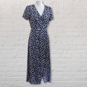 Madewell Blue Floral Midi Faux Wrap Dress 4